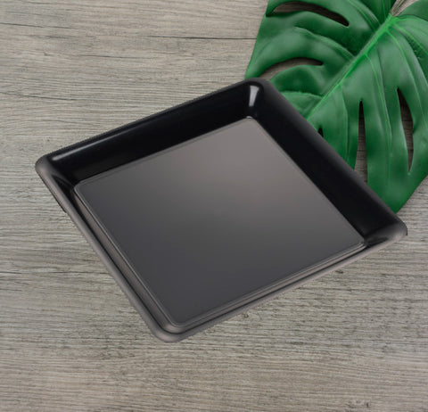 "Black Polypropylene Plastic 14"" x 14"" Square Tray EMI-714B - 25/Case"