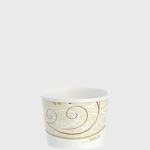 "White & Brown Design 12 oz. Paper Food Container 3.9""Dia. x 2.8""H HS4125-J8000 - 500/Case"