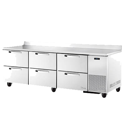 "superior-equipment-supply - True Food Service Equipment - True Stainless Steel Three Section Six Drawer Deep Work Top Refrigerator 93.5""W"