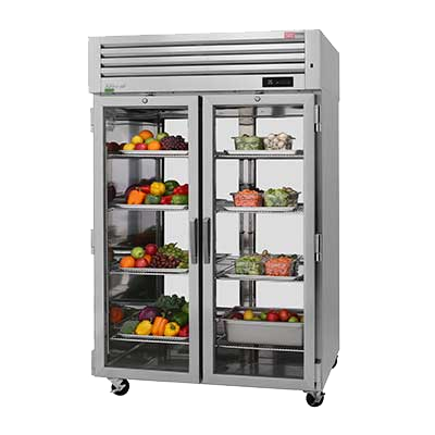 "superior-equipment-supply - Turbo Air - Turbo Air 51.75"" Wide STaiqnless Steel Two Front Glass Door & Two Rear Solid Door Pass-Thru Refrigerator"