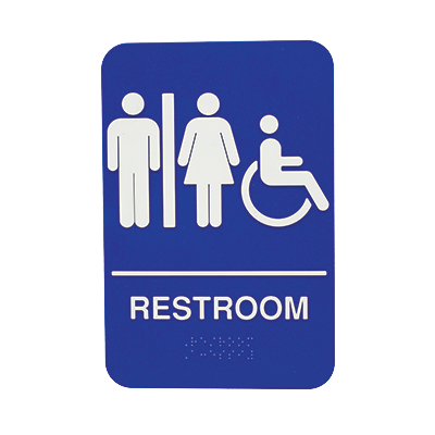 "Tablecraft Cash & Carry Sign Women/Men ""Restroom"""