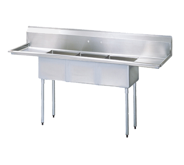 "superior-equipment-supply - Turbo Air - Turbo Air 90"" Wide Stainless Steel Three Compartment Sink"