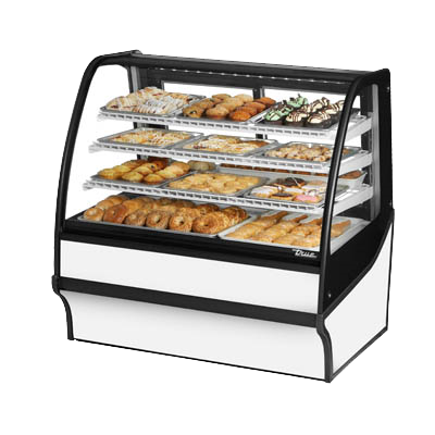 "superior-equipment-supply - True Food Service Equipment - True Curved Glass Stainless Steel Three Shelf Non-Refrigerated Display Merchandiser 48""W"