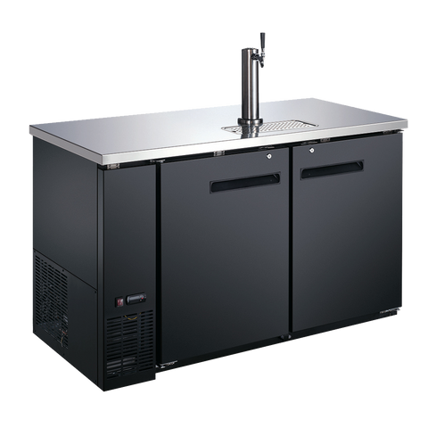 "Omcan 58.8"" Wide Two Section Draft Beer Cooler Two 1/2 Keg Capacity 19 cu. ft. With One Dispenser"
