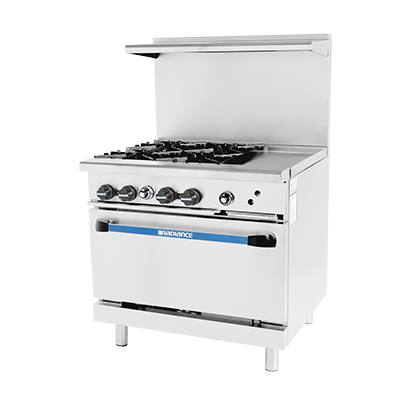 "superior-equipment-supply - Turbo Air - Turbo Air 36"" Wide Stainless Steel 4-Burner Restaurant Range With 12"" Griddle"