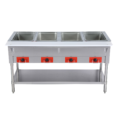 "Omcan 58"" Wide Electric Hot Food Table With Four Hot Food Wells 12.8"" x 20.78"" x 6"" Deep"