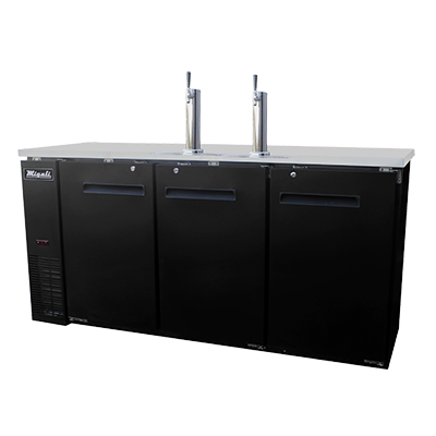 "superior-equipment-supply - Migali - Migali 72.8""W Black Steel Exterior Three-Section Direct Draw Beer Cooler"