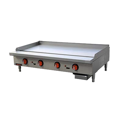 "Sierra Stainless Steel Countetop Four Burner Gas Griddle 48""W"