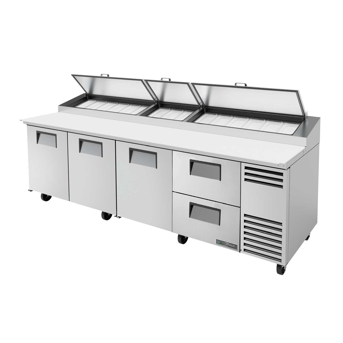 "superior-equipment-supply - True Food Service Equipment - True Stainless Steel Four Section Two Drawers 119""W Pizza Prep Table"