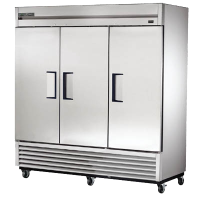 "Refurbished True 78"" Wide Three-Section Three Solid Door Reach-In Freezer"