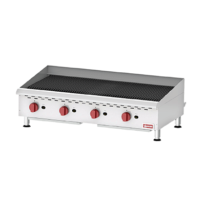 "Omcan Gas Countertop Charbroiler Four Burner 48"" Wide"