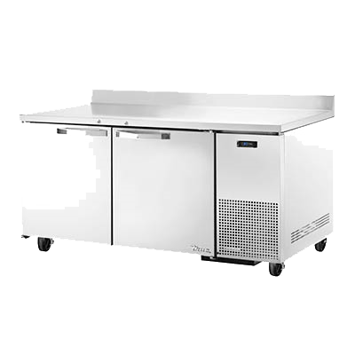 "superior-equipment-supply - True Food Service Equipment - True Stainless Steel Two Section Two Door Deep Work Top Refrigerator 67""W"