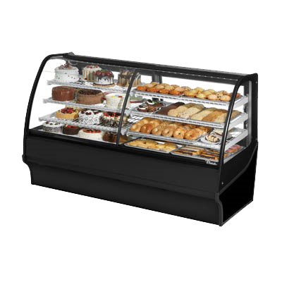 "superior-equipment-supply - True Food Service Equipment - True Black Powder Coated 77""W  Dual Zone Merchandiser With Self-Contained Refrigeration"