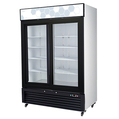 "superior-equipment-supply - Migali - Migali 54.4""W White Powder Coated Steel Two-Section Two Door Reach-In Refrigerator Merchandiser"