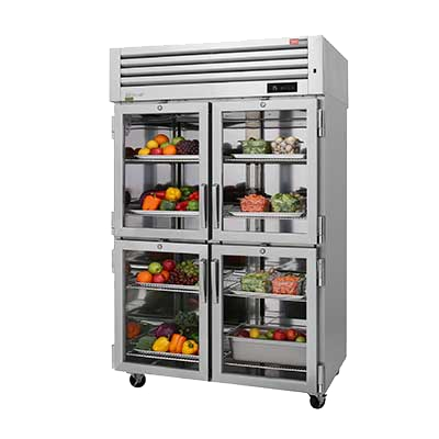 "superior-equipment-supply - Turbo Air - Turbo Air  51.75"" Wide STainless Steel Two-Section Four Glass Front Half Door & Four Solid Rear Half Door Pass-Thru Refrigerator"