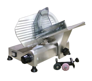 "Omcan Aluminium Manual Meat Slicer 8"" Diameter Carbon Steel Blade"