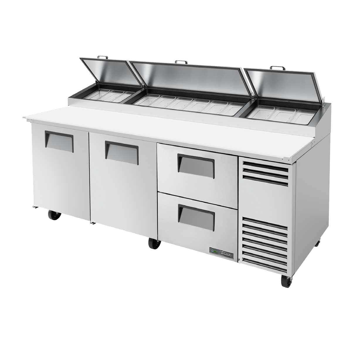 "superior-equipment-supply - True Food Service Equipment - True Stainless Steel Three Section Two Drawers 93""W Pizza Prep Table"