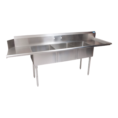 "superior-equipment-supply - BK Resources - BK Resources Stainless Steel Three Compartment Dishtable 100""W x 30-1/2""D x 44""H"