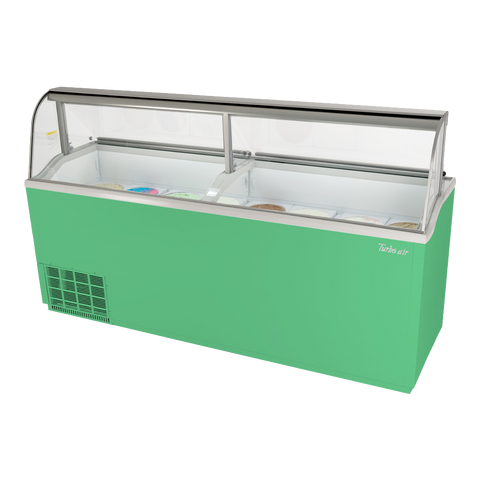 "superior-equipment-supply - Turbo Air - Turbo Air Green 89"" Wide Sixteen 3 Gallon Can Capacity Ice Cream Dipping Cabinet"