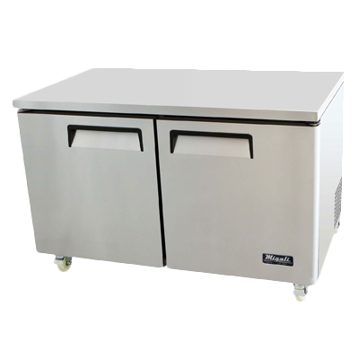 "superior-equipment-supply - Migali - Migali 60.2""W Stainless Steel Two-Section Two Solid Door Reach-In Undercounter Refrigerator"