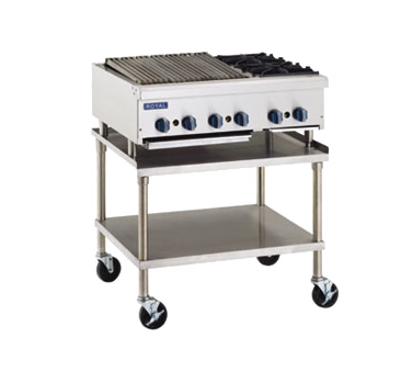 "superior-equipment-supply - Royal Range Of California - Royal Range Two Burner Stainless Steel Gas Charbroiler/Hotplate 24""W"