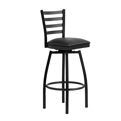 JMC Furniture Indoor Metal Frame Ladder Back Swivel Bar Stool With Vinyl Seat