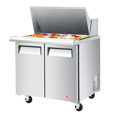 "superior-equipment-supply - Turbo Air - Turbo Air 36"" Wide Aluminium Two Section Sandwich/Salad Mega Top Unit"