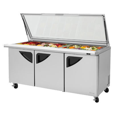 "superior-equipment-supply - Turbo Air - Turbo Air 72.6"" Wide Stainless Steel Three-Section Sandwich/Salad Mega Top Unit With Glass Lids"