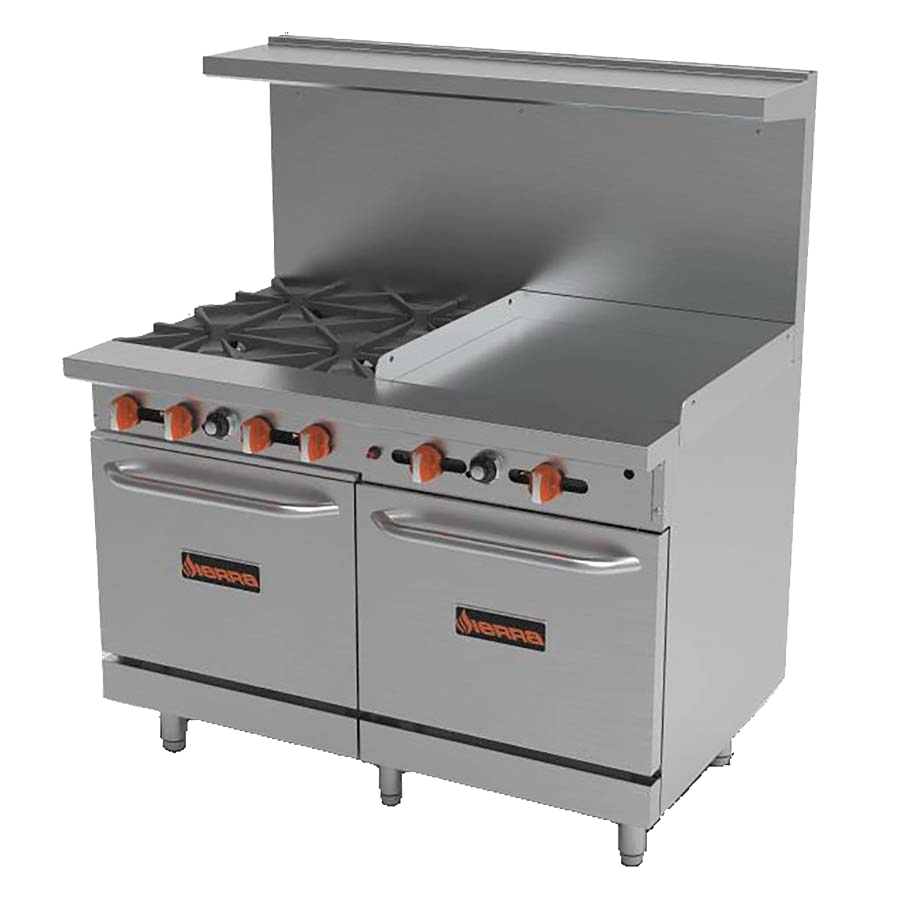 "superior-equipment-supply - MVP Group - Sierra Stainless Steel 48"" Wide Gas Range With 24"" Griddle"