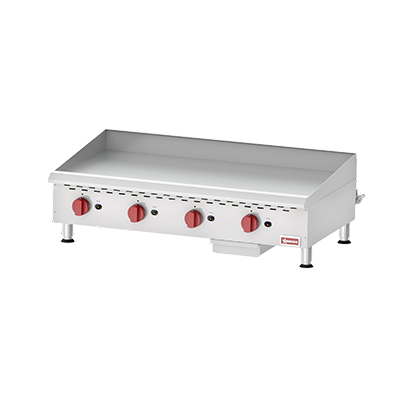 "Omcan 48"" Wide Stainless Steel Four Burner Natural Gas Griddle Thermostatic Control 120,000 BTU"