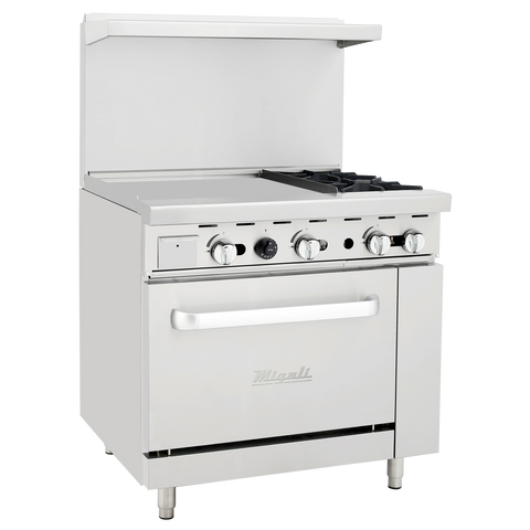 "superior-equipment-supply - Migali - Migali 36"" Stainless Steel Two Burner Natural Gas Range with 24"" Griddle"