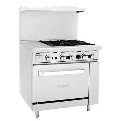 "superior-equipment-supply - Migali - Migali 36"" Stainless Steel Liquid Propane Four Burner Range With 12"" Griddle"
