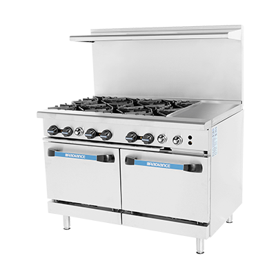 "superior-equipment-supply - Turbo Air - Turbo Air 48"" Wide Stainless Steel Gas Restaurant Range With 12"" Griddle"