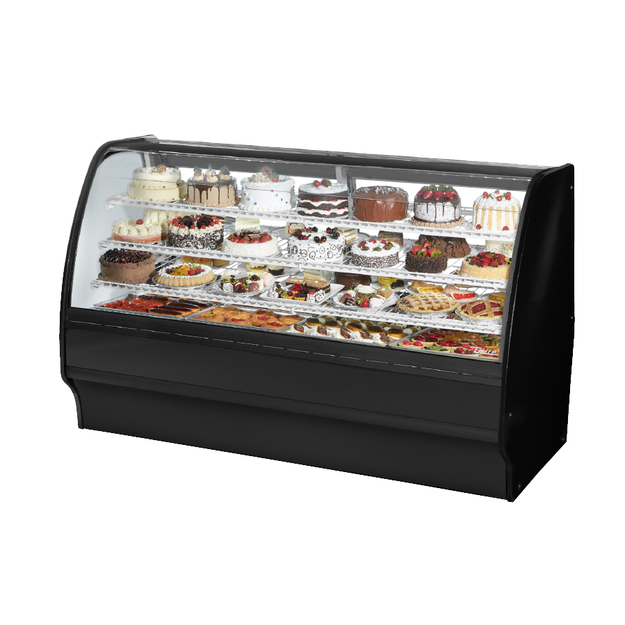 "superior-equipment-supply - True Food Service Equipment - True Stainless Steel 77""W Refrigerated Glass Merchandiser With PVC Coated Wire Shelving"