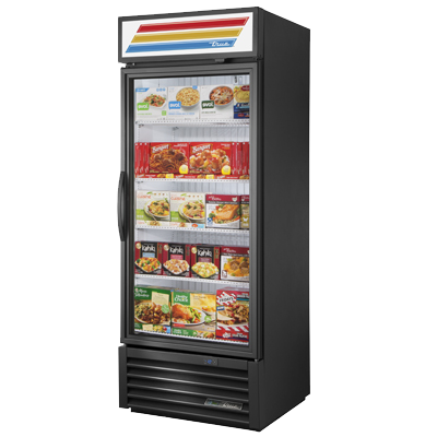 "superior-equipment-supply - True Food Service Equipment - True One Section Black Powder Coated Exterior Freezer Merchandiser With Healthy Safety Timer 30""W"