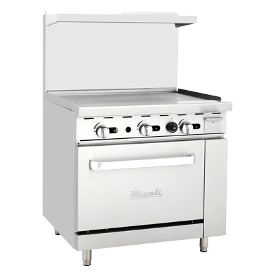 "superior-equipment-supply - Migali - Migali 36"" Stainless Steel Liquid Propane Range With Full Surface Griddle"