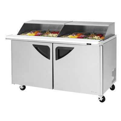 "superior-equipment-supply - Turbo Air - Turbo Air 60.25"" Wide Stainless Steel Sandwich/Salad Mega Top Unit with Slide-Back Lid"