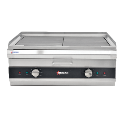 "Omcan 26"" Wide Electric Countertop Charbroiler/Griddle 24"" x 19"" Cooking Area"