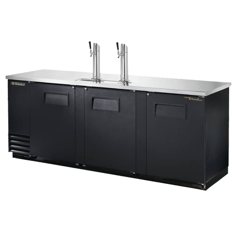 "superior-equipment-supply - True Food Service Equipment - True Three Door (4) Keg Black Vinyl Exterior Draft Beer Cooler 90""W"