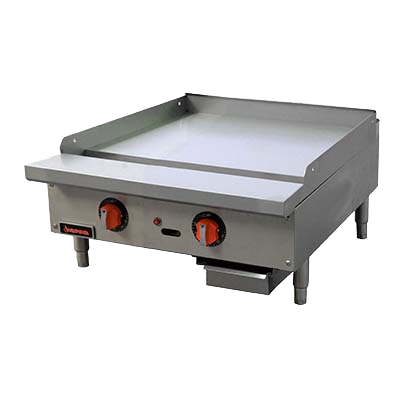 "Sierra Stainless Steel Two Burner Countertop Gas Griddle 24""W"