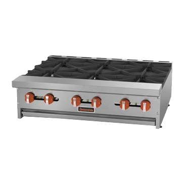 "Sierra Stainless Steel Countertop Six Burner Hotplate 36""W"