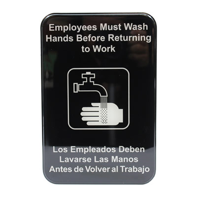 "Tablecraft Sign ""Employees Must Wash Hands Before Returning to Work"" Spanish/English"