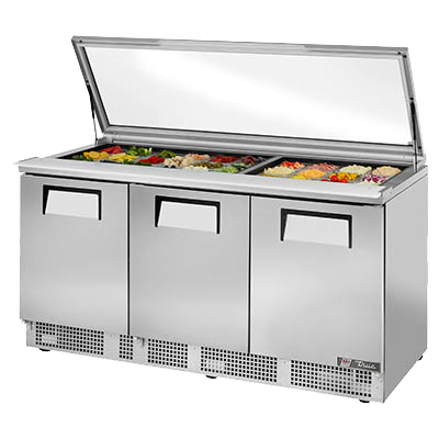 "superior-equipment-supply - True Food Service Equipment - True Stainless Steel Three Section Three Solid Door Sandwich/Salad Unit 72""W"