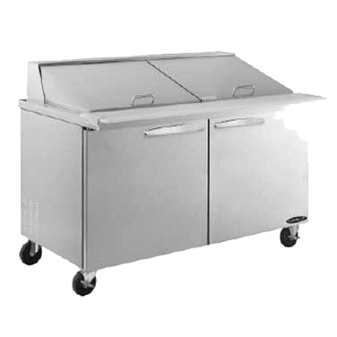 "superior-equipment-supply - MVP Group - Kool-It Stainless Steel Two Section Two Door Mega Top Sandwich/Salad Prep Unit 60""W"