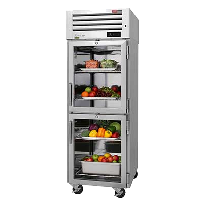 "superior-equipment-supply - Turbo Air - Turbo Air 28.75"" Wide Stainless Steel Two Front Half Glass Door & Two Rear Solid Half Door Pass-Thru Refrigerator"