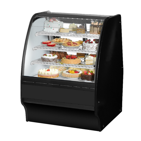 "superior-equipment-supply - True Food Service Equipment - True Black Powder Coated 36""W Refrigerated Glass Merchandiser With PVC Coated Wire Shelving"