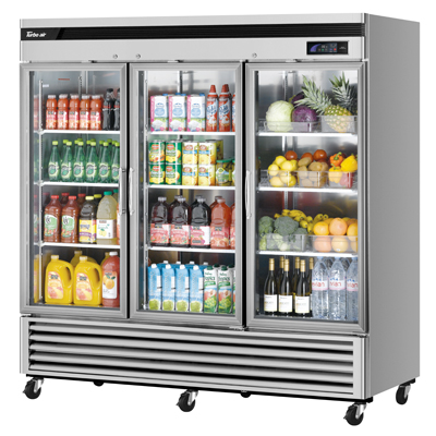 "superior-equipment-supply - Turbo Air - Turbo Air 81.9"" Wide Stainless Steel Three-Section Glass Door Refrigerator"