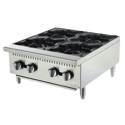 "Migali 24""W Stainless Steel Four Burner Natural Gas Countertop Hotplate"