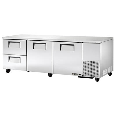 "superior-equipment-supply - True Food Service Equipment - True Stainless Steel Three Section Two Drawer 93"" Wide Undercounter Refrigerator"