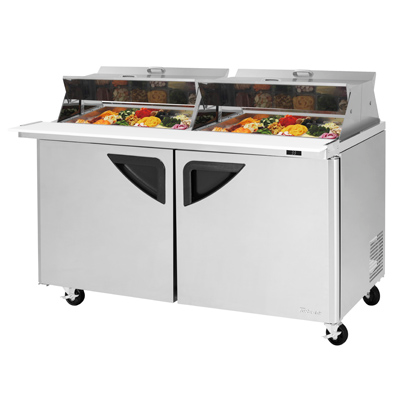"superior-equipment-supply - Turbo Air - Turbo Air 60.25"" Wide Stainless Steel Sandwich/Salad Mega Top Unit With Dual Sided Lids"